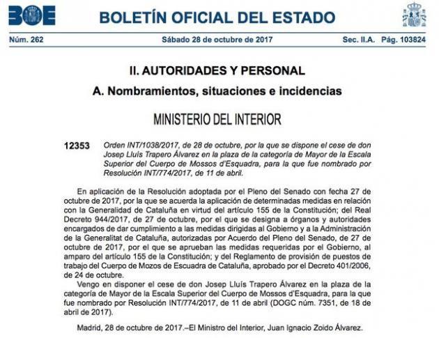 El gobierno cesa a trapero como mayor de los mossos d esquadra Gobierno de espana ministerio del interior